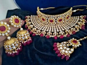 Bollywood Kundan Bridal Choker Necklace Set Jewelry Ad CZ Polki Red Wedding Set