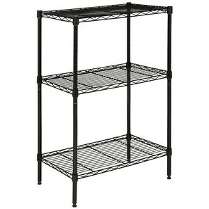 Sierra Mini 3 Tier Chrome Wire Shelve 23 In. W X 13 In. D X 35 In. H Black