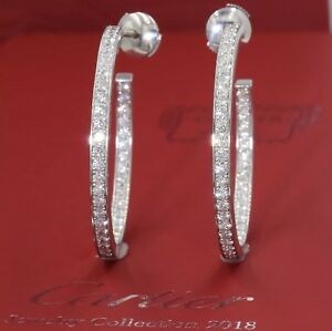 $15000 Cartier 18k White Gold 1.80CT InsideOut Round Diamond 35mm Hoop Earrings