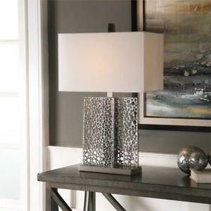 Modern Metallic Silver Perforated Table Lamp Mid Century Design Light