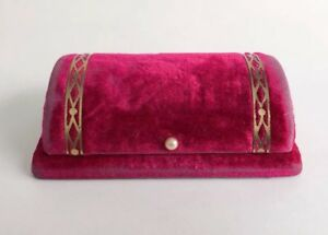 Pink Bulova Watch Box Velvet Pearl Jewelry Bracelet Bar Pin Brooch Art Deco Vtg