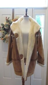 Venezia Leather Coat Women's Plus Size 1820BeigeGold Suede Fur Lined Jacket