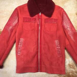 Candy Red Full SuedeAdult Alligator Shearling