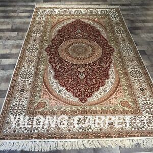 YILONG 5'x8' Hand Knotted Persian Silk Rug Durable Handicraft Carpet Red Y435B