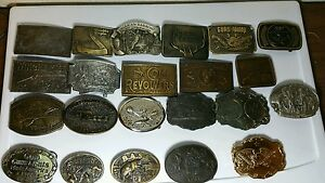 22 VINTAGE BELT BUCKLES- COLT WINCHESTER RAILROAD NRA ECT AND SEVERAL LIMITED #