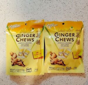 New Look 2 Bags Prince Of Peace 100% Natural Ginger Candy Chews With Lemon 4oz