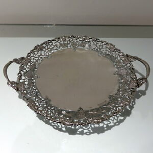 Mid 20th Century Sterling Silver Large Circular DishCake Stand Sheffield1961