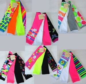 Womens Over Knee High Socks, 4 Pair Lot, Cute Fun, Bright, Pink, Neon, 24 Styles