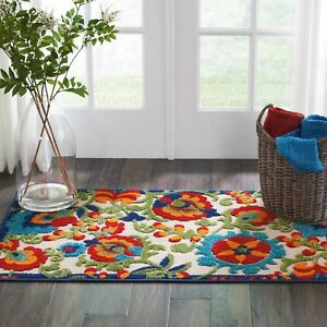 Nourison ALH17 Aloha Multicolor Transitional Tropical Indoor/Outdoor Area Rug
