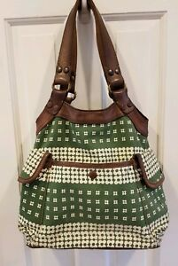LUCKY BRAND Hobo LeatherCanvas TOTE SHOULDER BAG Hunter Green Pattern EXCELLENT