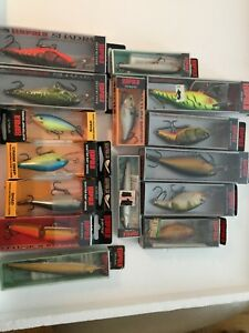 LARGE LOT OF 15 NEW RAPALA MINNOW BASS TROUT FISHING LURES * SHADRAPS  ...WOW...