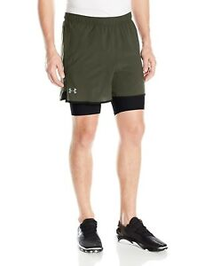 (Small Downtown Green) - Under Armour Men's Qualifier 2-in-1 Shorts. Brand New
