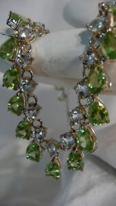 Peridot & Blue Topaz Gemstone Necklace White gold over Sterling silver
