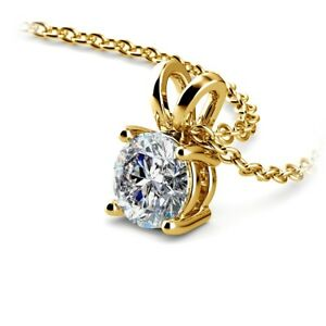 Round Cut Diamond Pendant .85 Carat ESI2 Solitaire 14K Yellow Gold Necklace