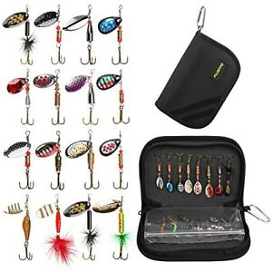 PLUSINNO Fishing Lures for Bass 16pcs Spinner Lures Kit with Portable Carry Bag