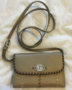 BRIGHTON Golden Pewter Leather SUNKISSED Wallet Organizer Purse Bag-VERY NIC