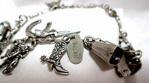 Cowboy Western themed Charm bracelet 16 pcs 36g sterling Silver accordian camera