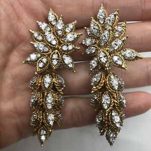 Vintage designer EK 18k yellow white gold diamond day night earrings dangle 40g
