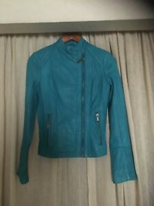 MICHAEL KORS GENUINE LEATHER MOTO JACKET  TURQUOIISE XS USED ONCE