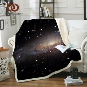 Galaxy Sherpa Blanket Universe Plush Throw Bed Blanket Sofa Cover
