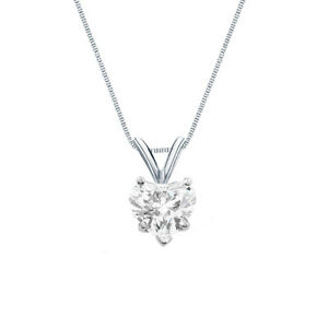 1.25 Ct Heart Shaped Real Solid 14k White Gold Solitaire Pendant 18