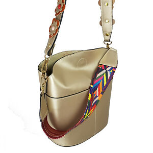 BUCKET Woman Shoulder bag genuine leather Made in Italy fashion gold