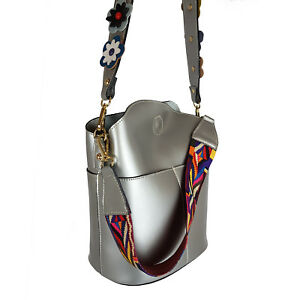 BUCKET Woman Shoulder bag genuine leather Made in Italy fashion silver