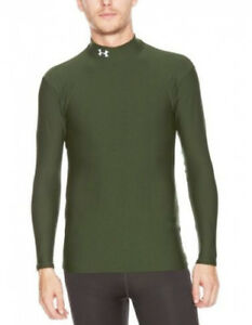 (2XL Green) - Men's ColdGear® Longsleeve Compression Mock Tops by Under Armour