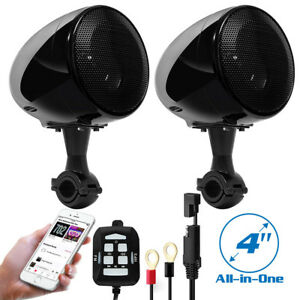 Dual Audio FM Radio MP3 Stereo Speaker 4'' Sound System For Motorcycle Bike ATV