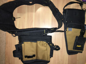 AWP Tool Rig Bags Belt  Brown General Construction Pockets plus extra pocket