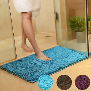 Soft Microfibre Shaggy Non Slip Absorbent Bath Mat Bathroom Shower Rugs Carpet
