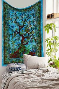 Tree of Life Indian Mandala Wall Hanging Boho Bedspread Blanket Twin Tapestry