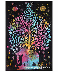Tree of life Indian Mandala Wall Hanging Cotton Hippie Bedspread Twin Tapestry