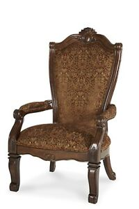 Set of 2 Windsor Court Classic Brown Patterned Fabric Arm Chair in Fruitwood