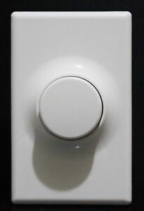 Push ON OFF Switch Rotary Light Dimmer with Wall Plate LED Compatible White