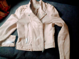 $445 LkNEW Michael KORS genuine Leather Moto jacket BEIGE M EUC perforated LK