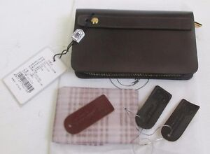 NWT QUALITY Cow Leather Wallet Organizer Clutch Purse  EXpresso 3 Tags Dust Bag