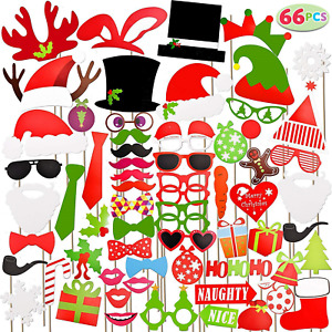 JOYIN Toy 66 Pieces Christmas Photo Booth Props for Event Party Favours and...