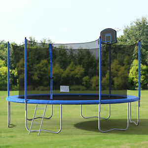 Merax 14FT Stable Round Trampoline w96PCS Springs & Enclosure and Ladder