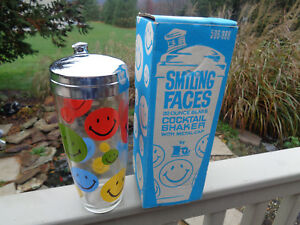 Vintage 1970s MULTI-COLOR SMILEY FACE GLASS COCKTAIL SHAKER w CHROME LID w BOX