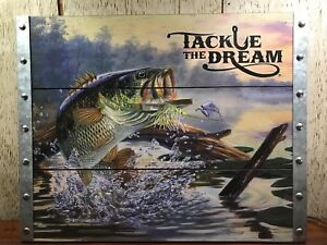 TACKLE The DREAM Bass Fishing Lake Cabin Fish Lure Rustic WOOD & Metal SIGN