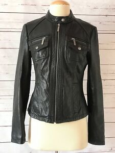 MICHAEL KORS Womens Size S Black Leather Moto Jacket