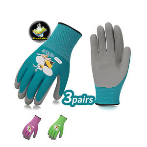 Vgo 3Pairs Age 3-5/6-7/8-9 Kids Rubber Coated Garden Work Gloves Mittens(RB6013)