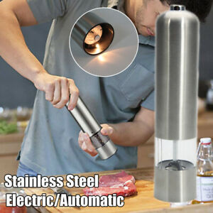 Electric Automatic Salt Pepper Mill Grinder Set Battery Powered Stainless Steel