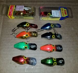 VINTAGE LOT OF 10 PRE RAPALA STORM WEE WARTS FISHING LURES!!