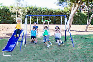 Metal Swing and Slide Set for Kids Weather Resistant Powder Coated Paint Finish