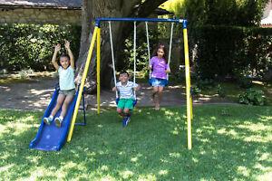 Metal Swing Set Weather Resistant Powder Coated Paint Finish Playset for Kids