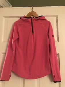 Nike pro girls kids fitted Hoodie shirt size M dry fit  Pink Black