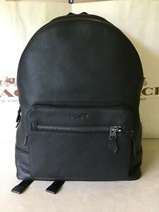 NWT Coach F23247 Men's West Backpack In Black Pebble Leather  $595