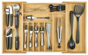 """KitchenEdge Flatware & Utensil Organizer for Kitchen Drawers Expands to 28"""" Wide"""